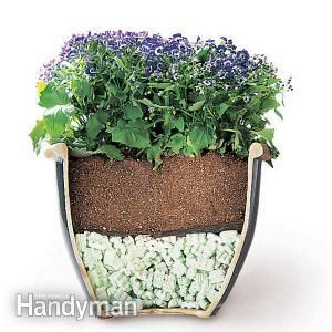 Buy a bag of foam packing peanuts. Fill the pot one-third to one-half full of peanuts, cover with landscape fabric and then add soil. This cuts the weight and saves money, since peanuts cost less than good potting soil. However, a smaller amount of soil means more frequent watering. To slow evaporation, cover the soil with wood mulch.