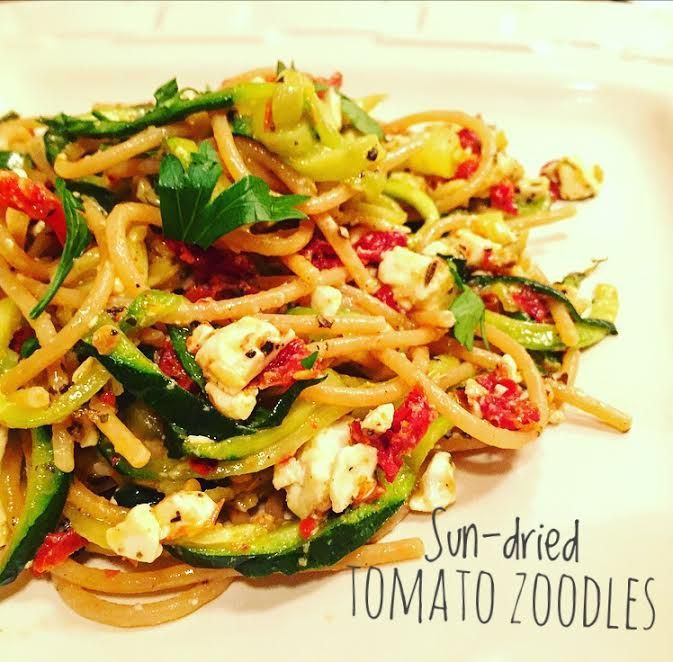Sun Dried Tomato Zoodles: This is the easiest way to sneak in zucchini for your next pasta night!  I love making this recipe with half zoodles and half whole wheat noodles.   If you are sticking to healthy, just spiral 2 zucchinis and ditch the noodles.  The sun dried tomatoes, spices and feta cheese finish this dish perfectly.  Gather around – it's pasta night!