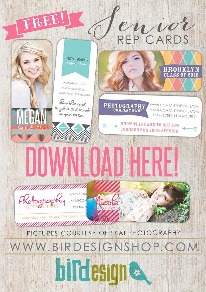 Hope you enjoy the free template for this month! ;) Three senior rep cards to spread the word about your photo studio this season! These rep cards are created