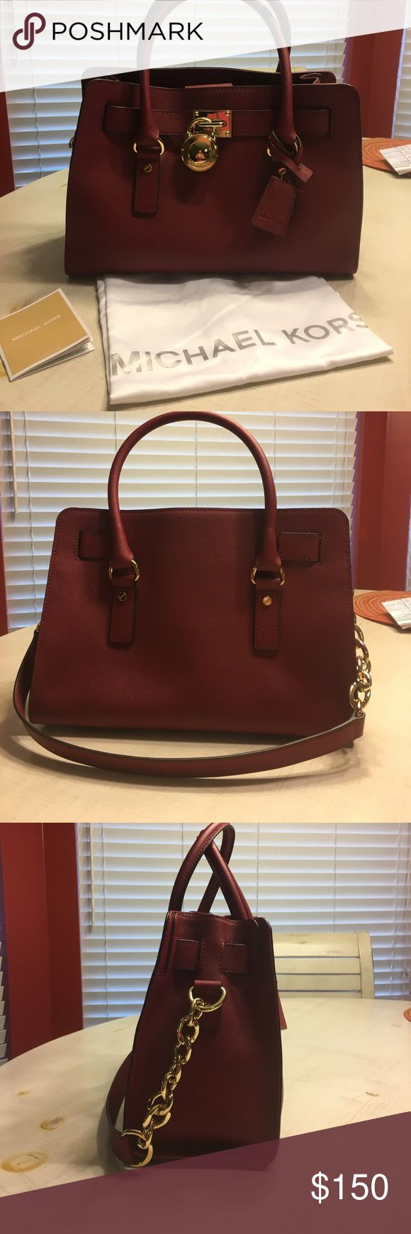 Red Michael Kors purse Michael Kors Hamilton Saffiano Leather Ew East West Satchel Chili Gold. Gently used. Can be used as a satchel or shoulder bag. Michael Kors Bags Shoulder Bags