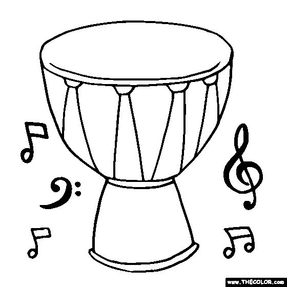 Tam Tam Coloring Page Music Worksheets