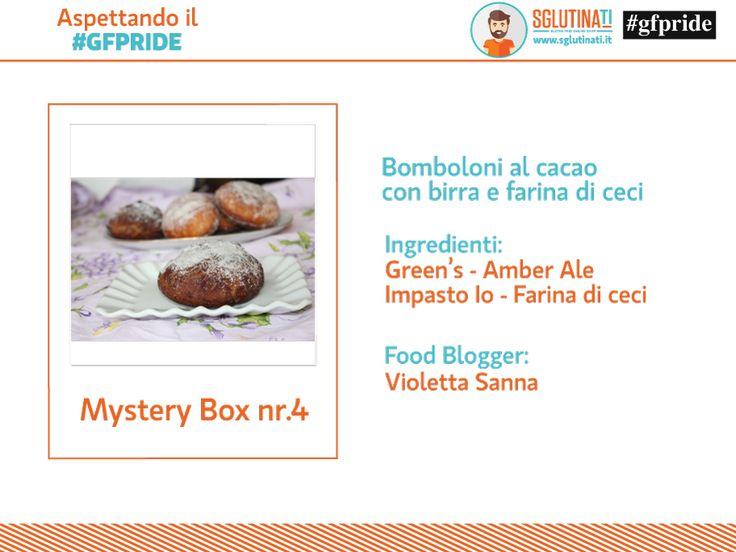 Aspettando il #gfpride Gfpride - glutenfreepride e Sglutinati vi svelano la Mystery Box nr.4! Violetta Sanna del blog Leo & Poldo con la farina di ceci di Impasto Io di Senzaltro Prodotti Senza Glutine e la Birre Green's ha realizzato ..... Bomboloni al cacao con la birra e farina di ceci http://sglutinati.it/blog/aspettandoilgfpridemysterybox4/