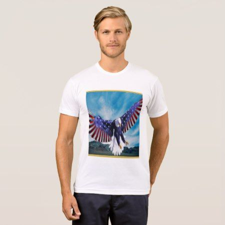 American flag Eagle flying in the sky gold foil tap/click to personalize or buy right now! a custom mens white short sleeve t shirt.Comes in 158 styles. #baldeagles #patrioticdesigns #Americanflag #4thOfJuly