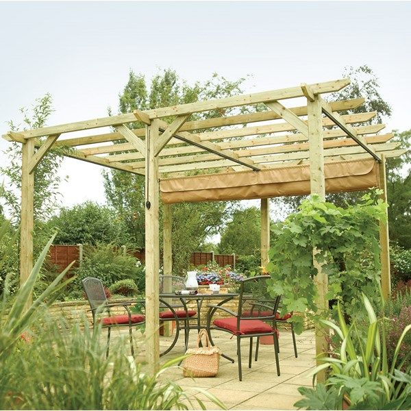 Rowlinson Verona Outdoor Sun Canopy in Natural Timber in