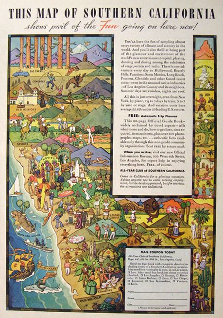 1938 Southern California Tourism Ad ~ Fun, Colorful Illustrated Map