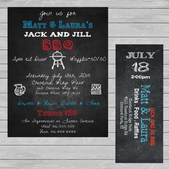 Jack and Jill - stag and doe - BBQ - Invite Poster Ticket Combo. Chalkboard Event ticket