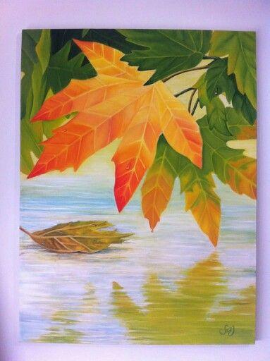 Las hojas sobre el lago