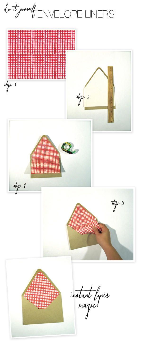 DIY Envelope Liners with a downloadable watercolor gingham print here: http://www.stylemepretty.com/2012/10/14/smp-at-home-an-apple-picking-party-diy-papergoods/#