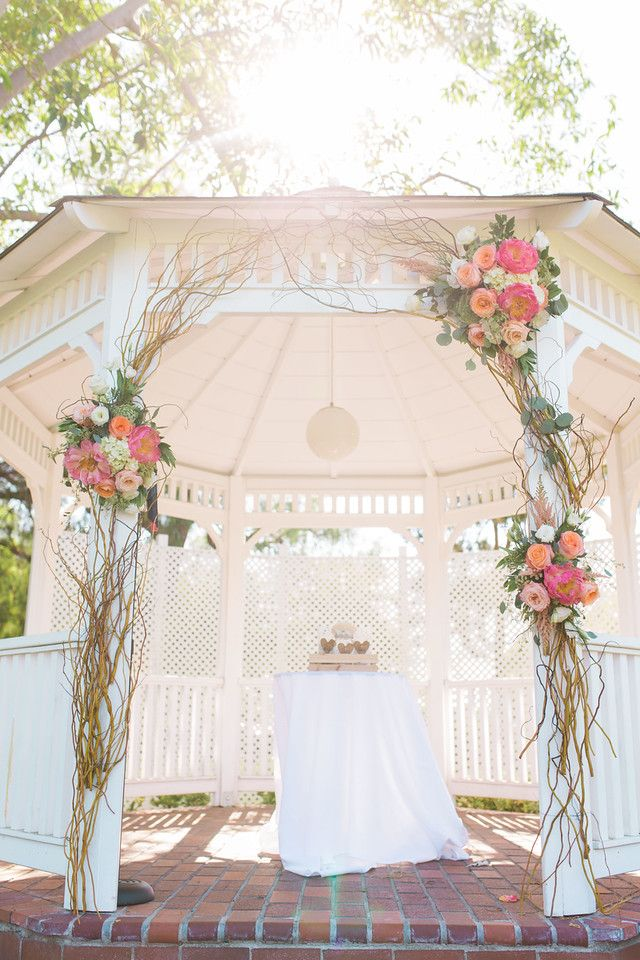 Alta Vista County Club / Photo by Jen Disney  Floral by Victoria's Garden Anaheim / Garden Ceremony / Gazebo Ceremony / Orange County Weddings / Gazebo Decor