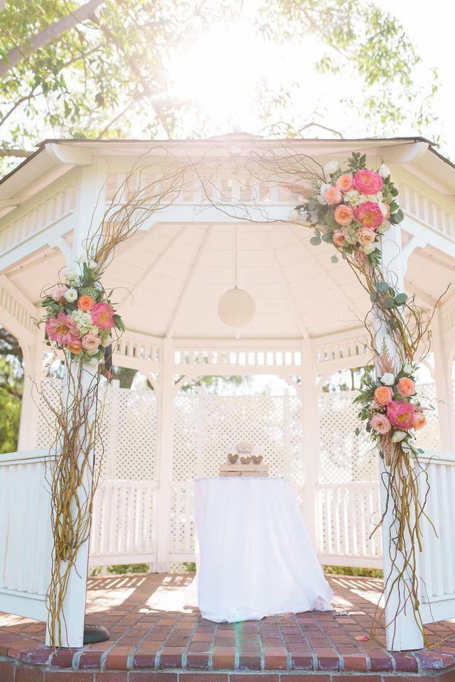 Alta Vista County Club / Photo by Jen Disney  Floral by Victoria's Garden Anaheim / Garden Ceremony / Gazebo Ceremony / Orange County Weddings / Gazebo Decor