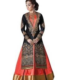 Buy Orange faux georgeet embroidered semi stitiched salwar with dupatta party-wear-salwar-kameez online