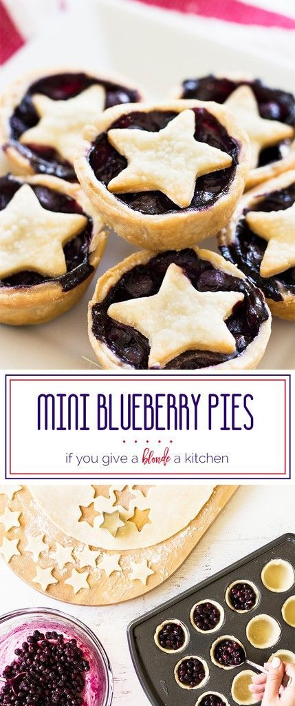 Mini blueberry pies are a delicious bite-sized treat. The star garnish makes the pies a patriotic dessert for Memorial Day or the Fourth of July!