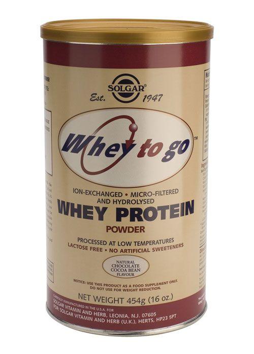 Solgar Vitamins Whey To Go Protein Chocolate (weiprote�ne) 454 gram poeder - Solgar Whey To Go Protein Chocolate bevat wei-eiwit in poedervorm. Wei-eiwit wordt als best opneembare bron van eiwit beschouwd.