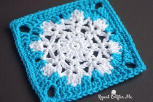 Crochet Snowflake Granny Square