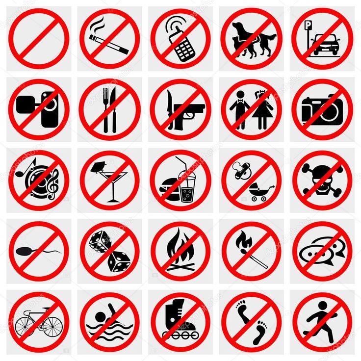 Nincs stoptábla. tilos a dohányzás, nincs kutya vagy pets.set tiltott jelek. nagy csoportja, hasznos és szokatlan tiltott jelek — Stock Illusztráció #23134158