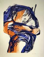 Inger Sitter. Orange/blue lito