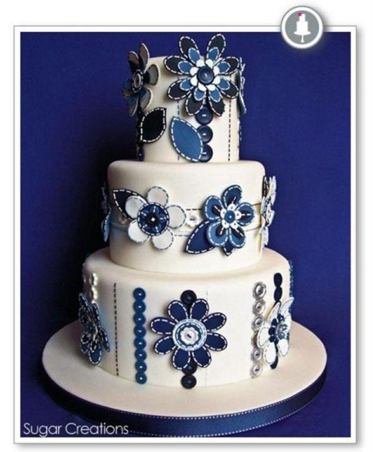 Blue Button Flower Cake