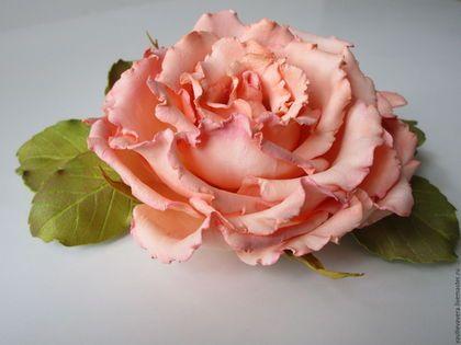 Заколки ручной работы. Ярмарка Мастеров - ручная работа. Купить Чайная роза.Зажим.. Handmade. Кремовый, украшения ручной работы