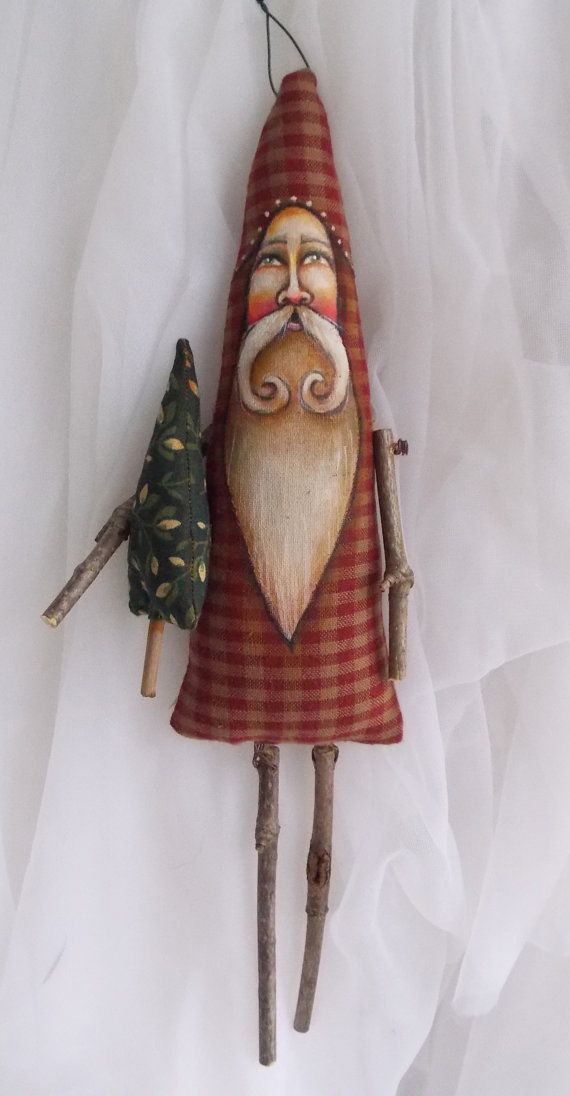 Santa Claus Ornament Tree Branch Sticks Scherer Folk ...