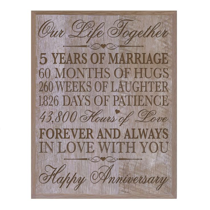 5th Wedding Anniversary Wall Plaque Gifts For Couple Her5th