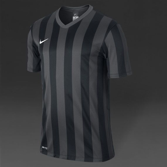 Nike Striped Division S/S Football Shirt - Blk/Gry/Wht