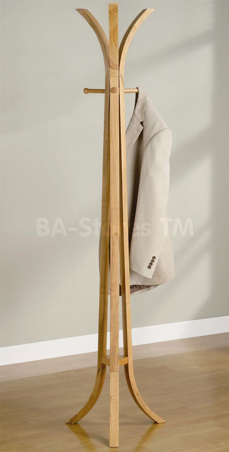 Elegant Modern Furniture Interior Standing Coat Rack Style Featuring  Freestanding Brown Wooden Curved Coat Rack And Wooden Brown Modern Coat Rack  Six Hooks