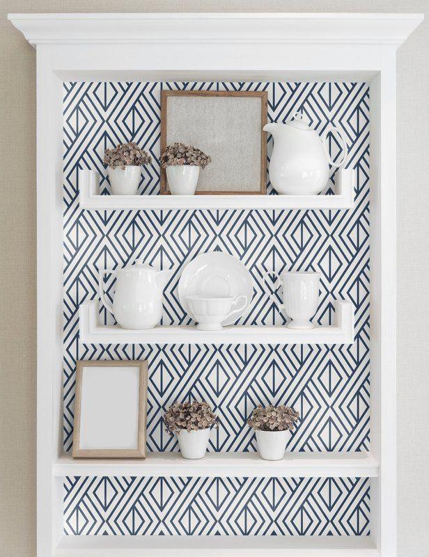 Espino Diamond Geometric 216 L X 20 5 W Peel And Stick Wallpaper Roll Peel And Stick Wallpaper Wallpaper Bookcase Wallpaper Bookshelf