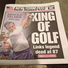 Arnold Palmer 9/26 New York Post And Daily News Newspapers