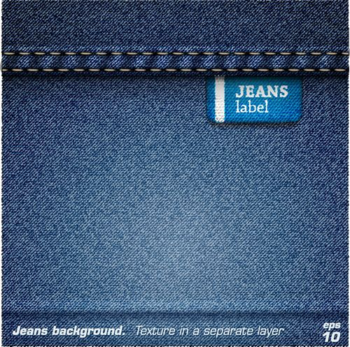 Jeans fabric vector backgrounds art 05
