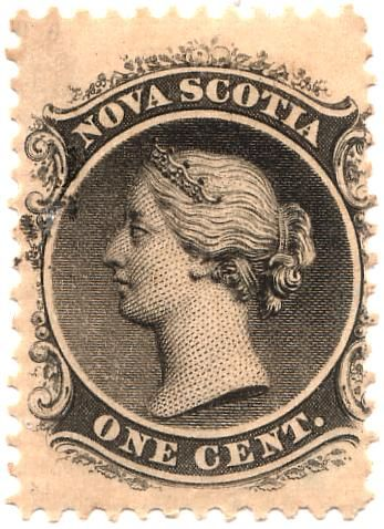 Nova Scotia 1-cent postage stamp, first issued 1860, 21×27mm