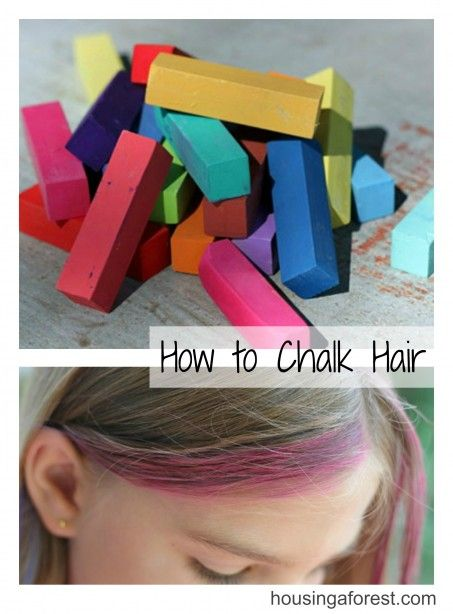 How to chalk Hair ~ My girls love this fun summer look.  It is temporary and really cheap which is a win for me!