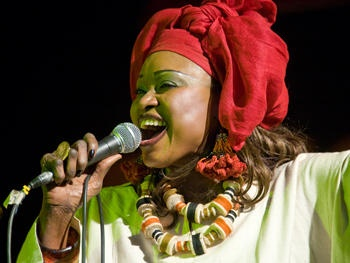 Oumou Sangare performing with Bela Fleck at Africa Utopia festival on Wednesday 18 & Thursday 19 July