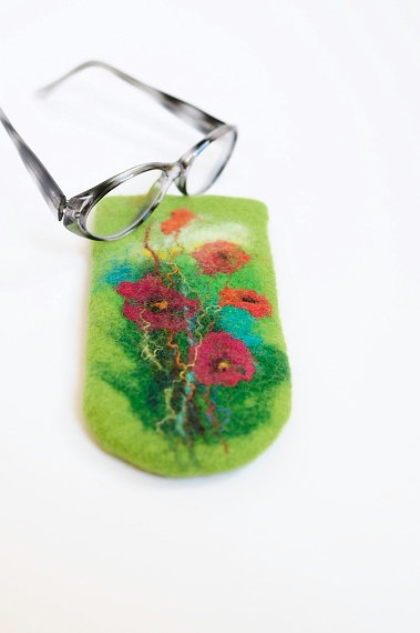 Hand felted eyeglass case