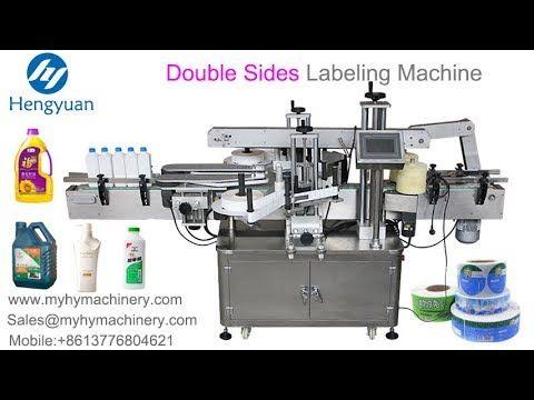 Automatic double sides labeling machine shampoo bottle