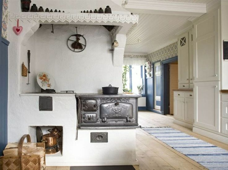 Swedish kichen with vedspis / wood cooking range.