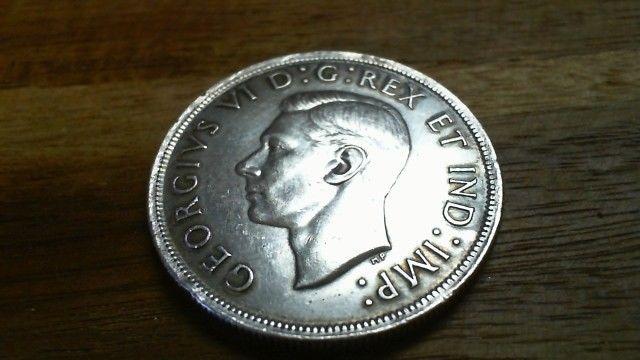 1939 Canadian Silver Dollar Full Ear And Hair Details Still