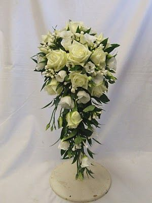 Teardrop Shower Bouquet Green And White Cascading BouquetsWedding
