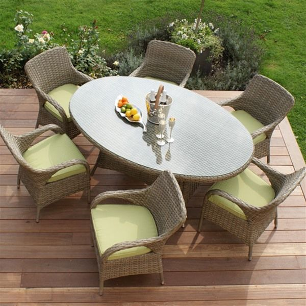 Maze Rattan Natural Milan 6 Seat Oval Dining Chair Furniture Set