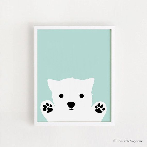 Printable - Dog art Poster bebe INSTANT DOWNLOAD Boys Room Decor cute Dog Wall art Cute Animal Dog Nursery Art Print Mint Blue Digital file by ARTsopoomc