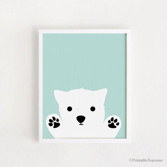 Printable - Dog art Poster bebe INSTANT DOWNLOAD Boys Room Decor cute Dog Wall art Cute Animal Dog Nursery Art Print Mint Blue Digital file by ARTsopoomc