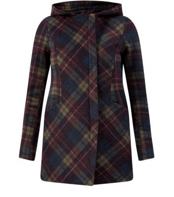 Navy Jersey Check Hooded Coat