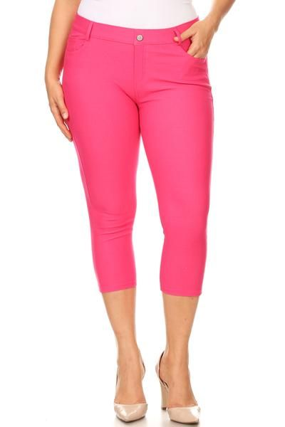 4da6ffcd543 Hot pink capri jeggings just in time for Spring 2019. Shop ICONOFLASH.COM