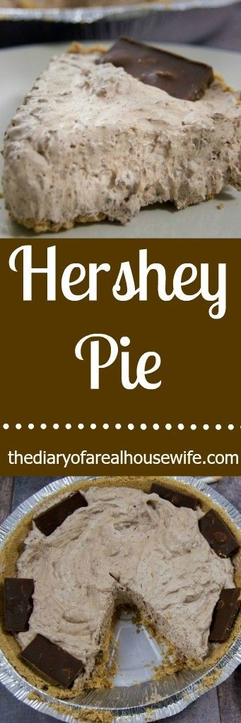 Hershey Pie. I love this easy no  bake dessert recipe. Really is so simple to make but it taste soooo good!!!