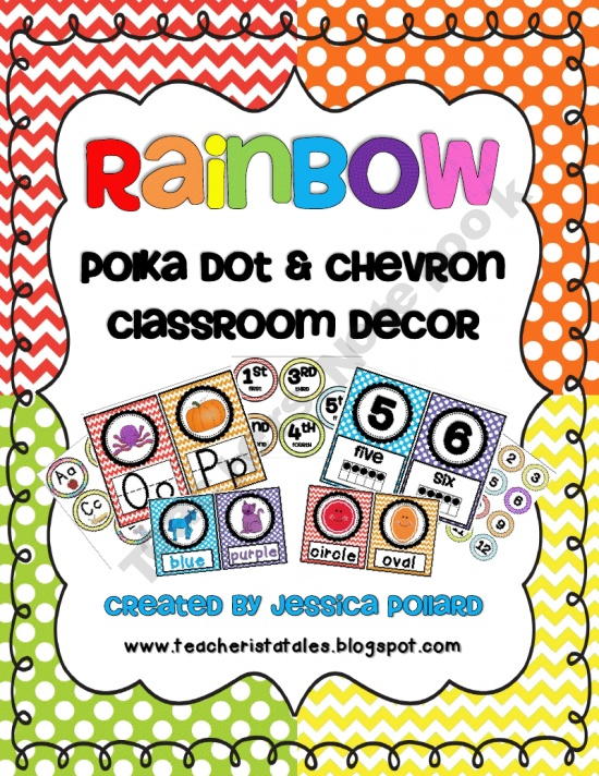 Rainbow Polka Dot & Chevron Classroom Decor product from Tales-of-a-Teacherista on TeachersNotebook.com
