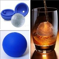 Wish | Silicone Round Hockey Star Wars Death Star Round Ice Cube Tray Desert Sphere Mold Moulds Blue (Color: Blue)