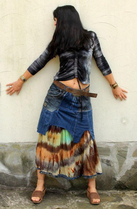 M-M/L tie dye lappendeken denim gerecycleerd lange rok hippie boho stijl