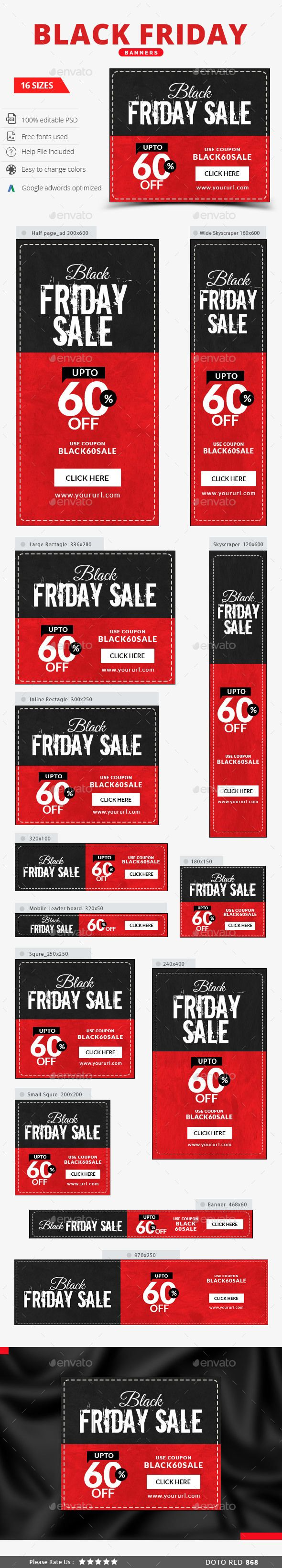 Black Friday Web Banners Template PSD #design #ads Download: http://graphicriver.net/item/black-friday-banners/13737619?ref=ksioks