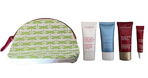 Clarins Gift Set & Travel Pouch - Super Restorative Replenishing Comfort Mask, Super Restorative Total Eye Concentrate, Moisture Rich Body Lotion, HydraQuench Cream Mask & Pouch