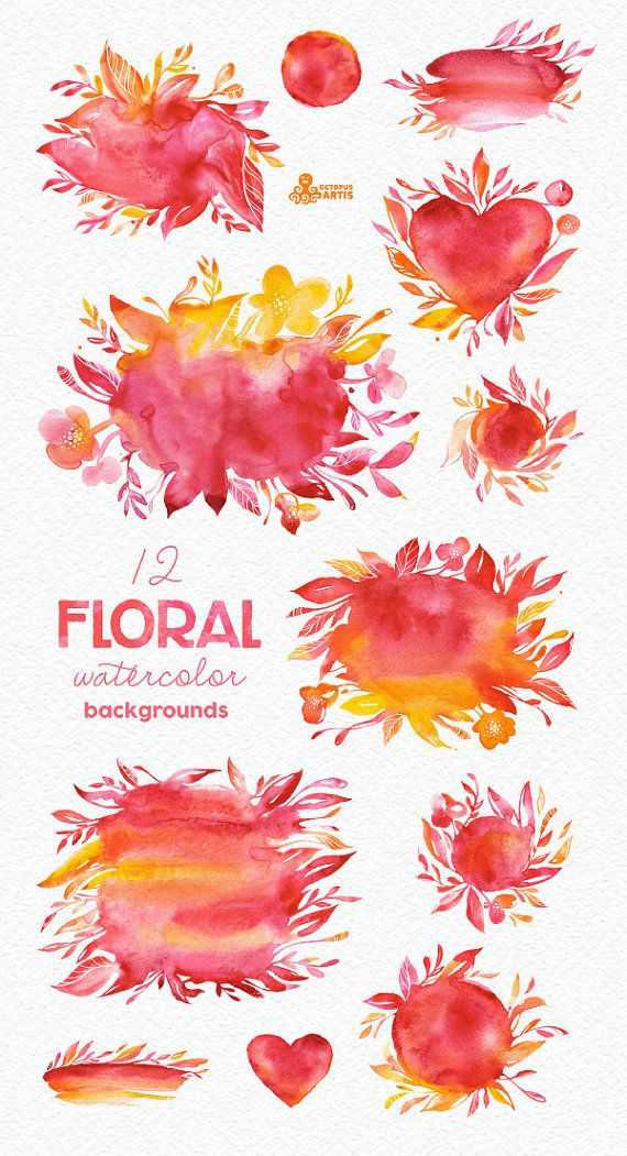 Floral Watercolor backgrounds & shapes, handpainted
