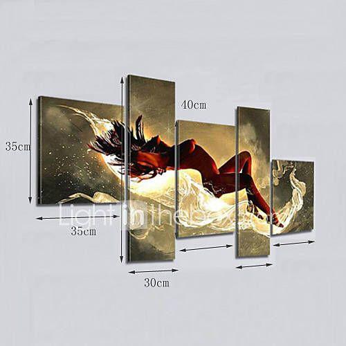 Pictat manual Abstract Orice formă Cinci Panouri Canava Hang-pictate pictură în ulei For Pagina de decorare 3798870 2017 – $36.79
